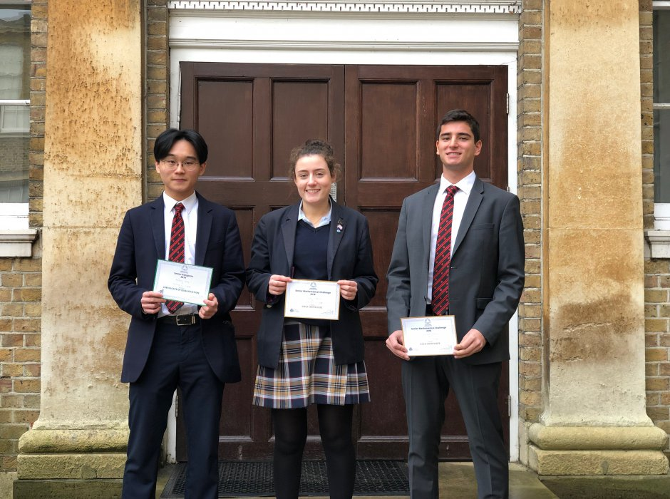 Three Gold Certificates in the UKMT Maths Challenge