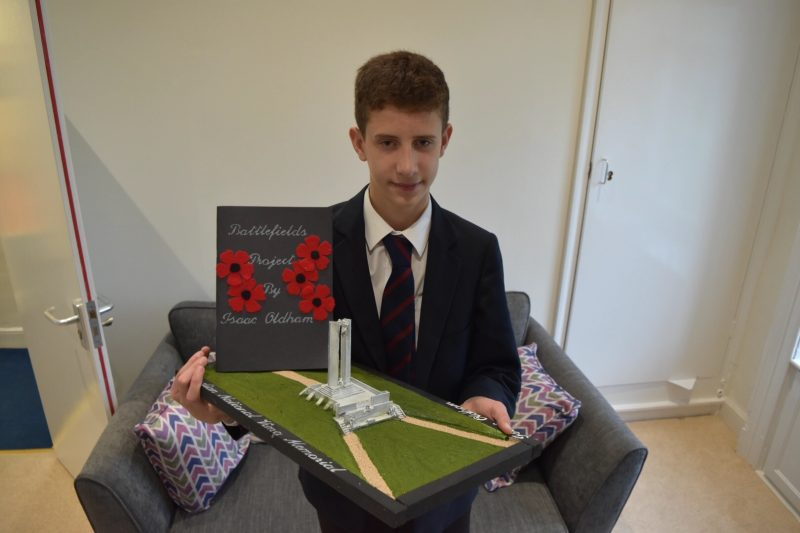 Pupil's battlefields project honours war hero relative who was shot saving a friend